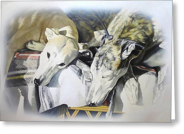 Lurcher Greeting Cards - Cherry and Spike Greeting Card by Julian Wheat