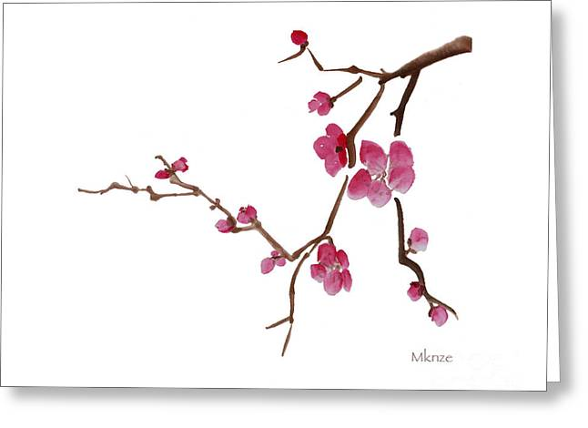 Cherry Blossoms Paintings Greeting Cards - Cherry Blossoms 1d Greeting Card by McKenzie Leopold
