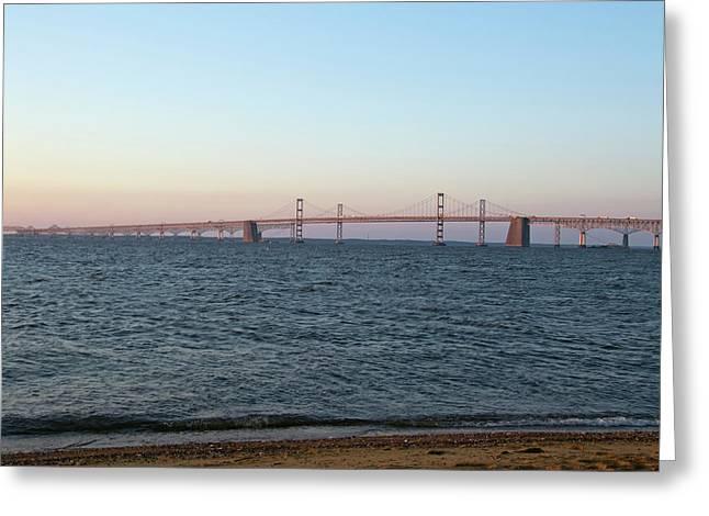 Bay Bridge Greeting Cards - Chesapeake Bay Bridge - Maryland Greeting Card by Brendan Reals