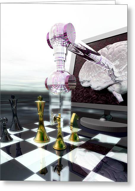 Chess Piece Greeting Cards - Chess Computer Greeting Card by Laguna Design