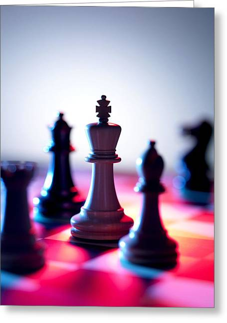 Game Piece Greeting Cards - Chess Pieces Greeting Card by Tek Image
