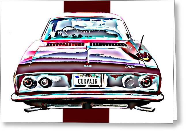 Sheats Greeting Cards - Chevy Corvair Rear Study Greeting Card by Samuel Sheats