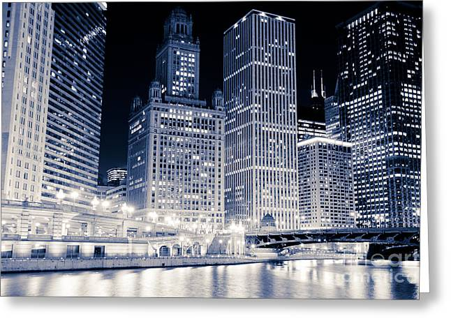 Wacker Drive Greeting Cards - Chicago Downtown at Night Greeting Card by Paul Velgos