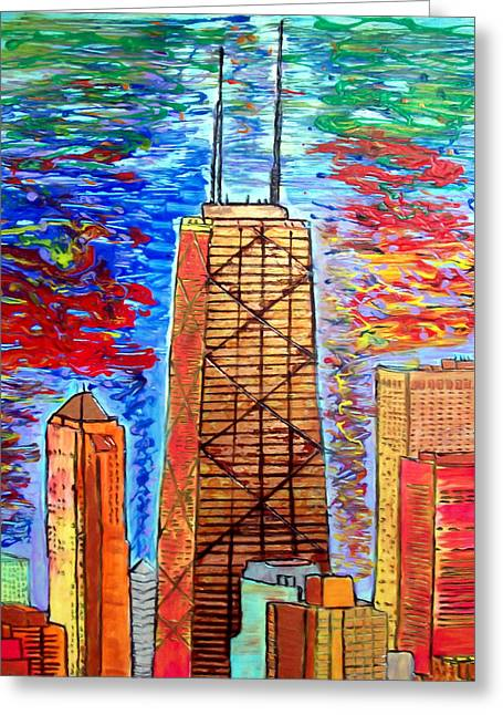 Magnificent Mile Mixed Media Greeting Cards - Chicago John Hancock Building Greeting Card by Char Swift