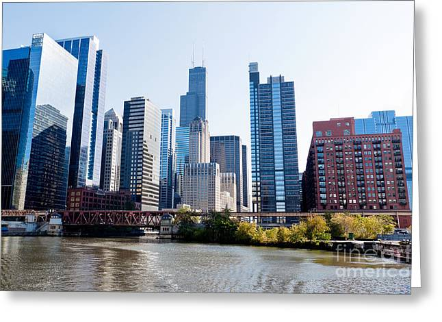 Chicago River Skyline With Sears-willis Tower Greeting Card by Paul Velgos