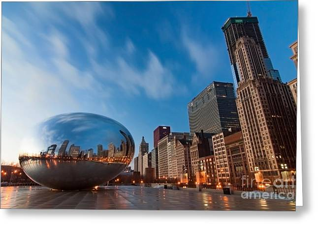 Bean Greeting Cards - Chicago Skyline and bean at sunrise Greeting Card by Sven Brogren