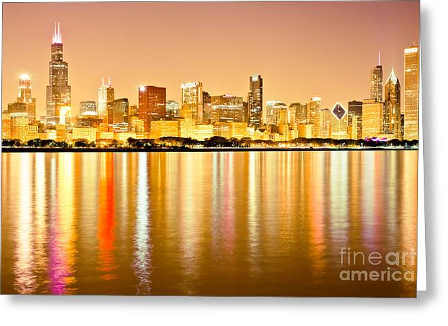 Center City Greeting Cards - Chicago Skyline at Night Photo Greeting Card by Paul Velgos