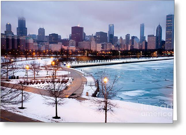 Sears Greeting Cards - Chicago Skyline in Winter Greeting Card by Paul Velgos