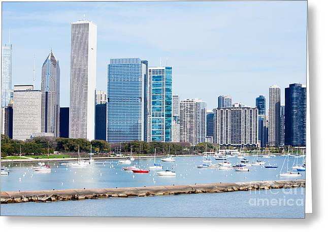 Sailboat Photos Greeting Cards - Chicago Skyline Lakefront Greeting Card by Paul Velgos