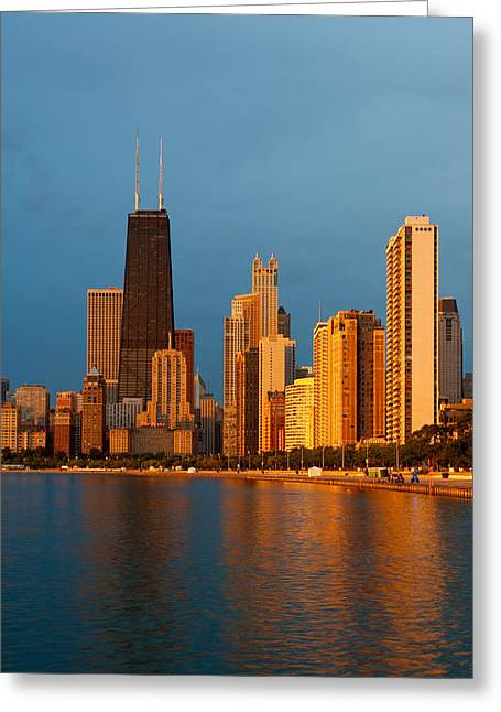 Hancock Greeting Cards - Chicago Skyline Greeting Card by Sebastian Musial