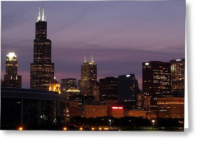 Chicago With A Purple Sky Greeting Card by Dan Susek