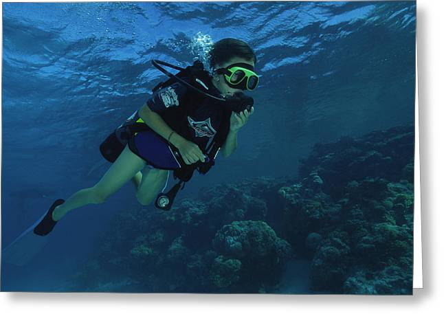 Underwater Breathing Greeting Cards - Child Diver Greeting Card by Alexis Rosenfeld