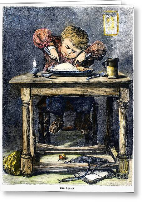 Stein Greeting Cards - Child Eating, 1875 Greeting Card by Granger