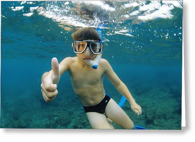 Snorkel Greeting Cards - Child Snorkelling Greeting Card by Alexis Rosenfeld