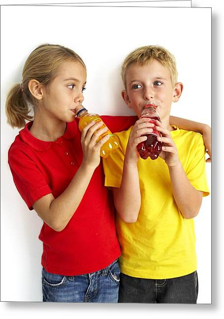 Consume Greeting Cards - Children Drinking Squash Greeting Card by Ian Boddy
