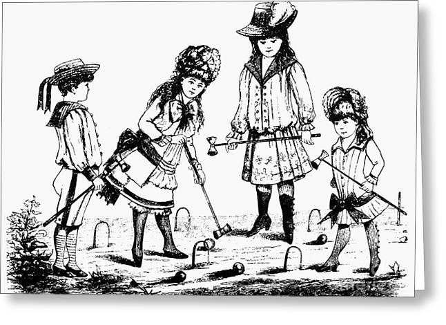 Croquet Greeting Cards - Children Playing Croquet Greeting Card by Granger