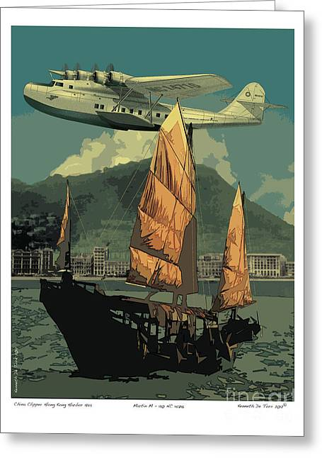 Junk Greeting Cards - China Clipper Greeting Card by Kenneth De Tore