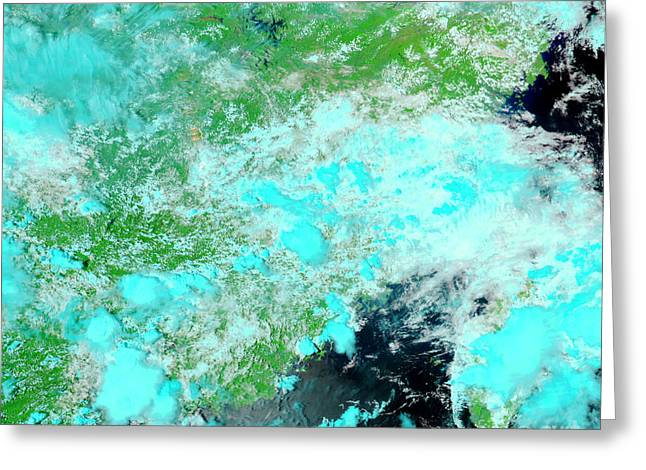 Flooding Greeting Cards - Chinas Jiangxi Province Greeting Card by Nasa