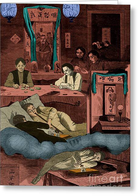 Winslow Homer Photographs Greeting Cards - Chinatown Opium Den Greeting Card by Photo Researchers