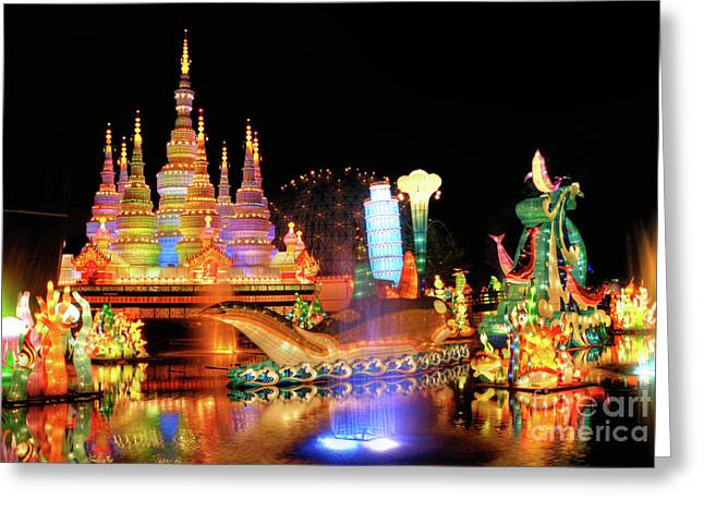 Fabled Greeting Cards - Chinese Lantern Festival Greeting Card by Oleksiy Maksymenko