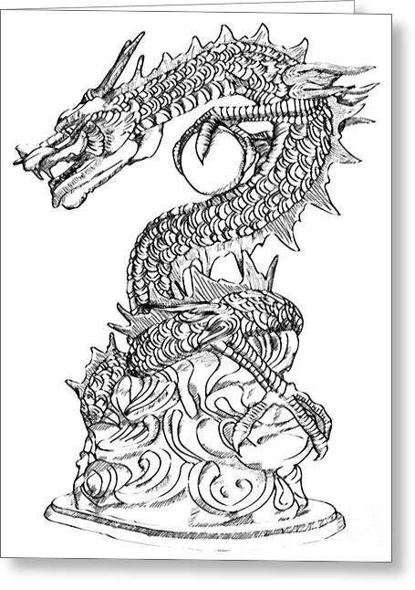 Painted Details Drawings Greeting Cards - Chinese Style Dragon Statue Sketch Up Greeting Card by Weerayut Kongsombut