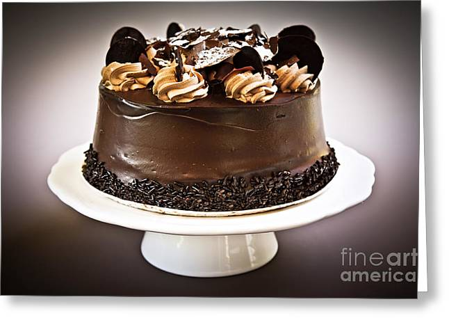 Cakes Greeting Cards - Chocolate cake Greeting Card by Elena Elisseeva