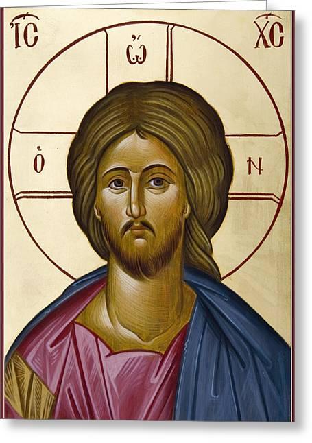 Orthodox Paintings Greeting Cards - Christ Pantokrator Greeting Card by Julia Bridget Hayes