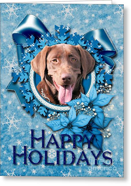 Christmas - Blue Snowflakes Labrador Greeting Card by Renae Laughner