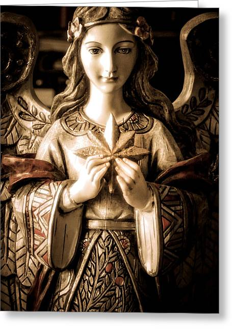 Angel With Star Greeting Cards - Christmas Angel Greeting Card by Julie Palencia