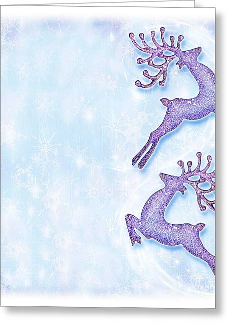 Rudolph Greeting Cards - Christmas holiday card festive background reindeer decorative  Greeting Card by Anna Omelchenko