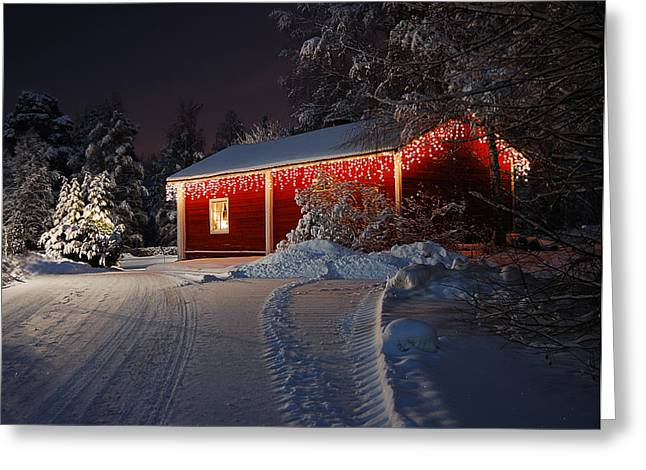 Snowy Evening Greeting Cards - Christmas house  Greeting Card by Roman Rodionov