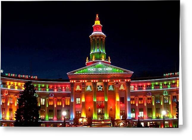Christmas In Denver Greeting Card by Phyllis Britton