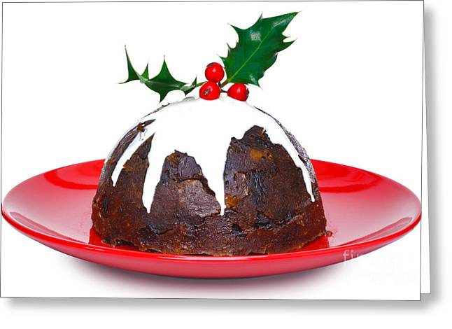 Holly Berry Still Life Greeting Cards - Christmas pudding  Greeting Card by Richard Thomas