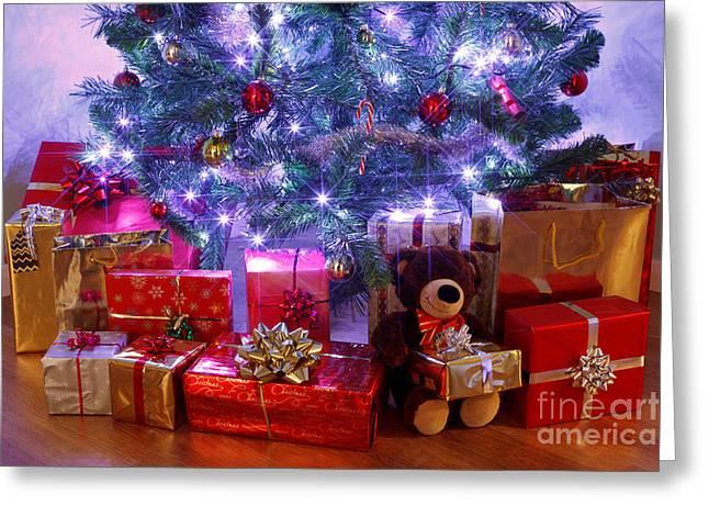 Interior Still Life Photographs Greeting Cards - Christmas tree and presents Greeting Card by Richard Thomas