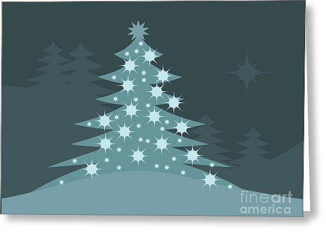 Monochromatic Greeting Cards - Christmas Tree Greeting Card by HD Connelly
