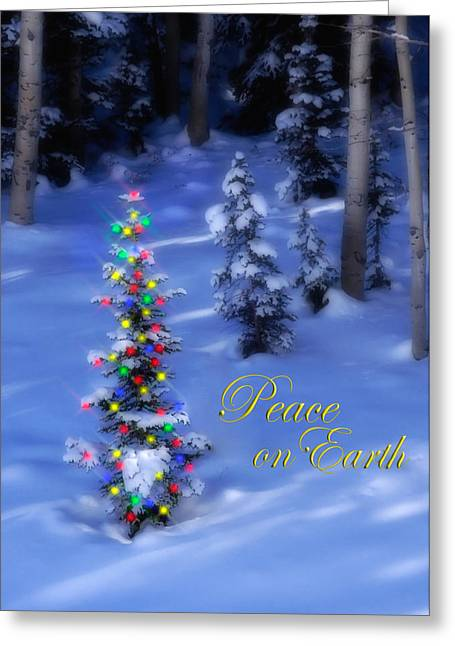 Snowy Night Greeting Cards - Christmas Tree on a Snowy Hillside Greeting Card by Utah Images