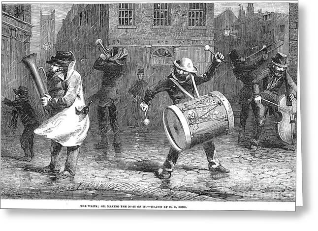 Tubist Greeting Cards - Christmas Waits, 1853 Greeting Card by Granger
