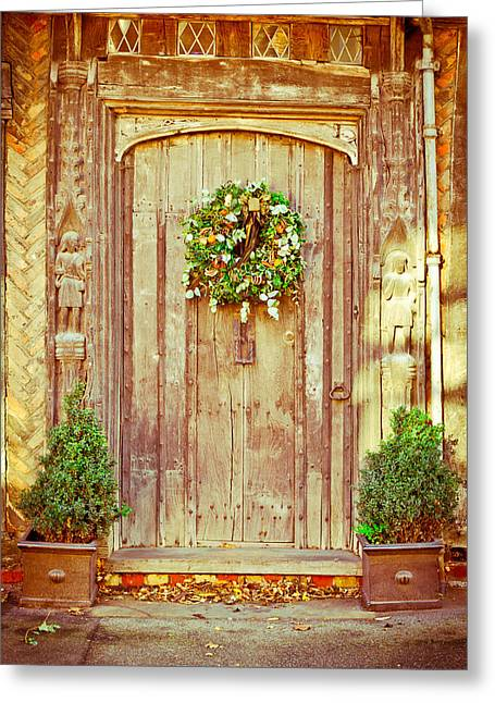 Medieval Entrance Photographs Greeting Cards - Christmas wreath Greeting Card by Tom Gowanlock