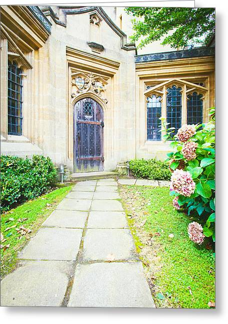 Medieval Entrance Photographs Greeting Cards - Church door Greeting Card by Tom Gowanlock