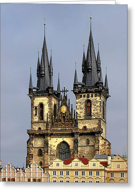 Twin Towers Greeting Cards - Church of Our Lady Before Tyn - Prague CZ Greeting Card by Christine Till