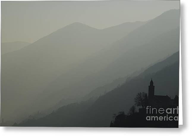 Swiss Cross Greeting Cards - Church on a foggy mountain Greeting Card by Mats Silvan