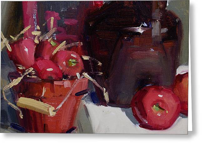 Still Life With Green Apples Greeting Cards - Cider Greeting Card by Judy Crowe