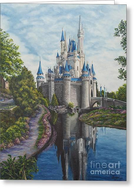 Magic Kingdom Greeting Cards - Cinderella Castle  Greeting Card by Charlotte Blanchard