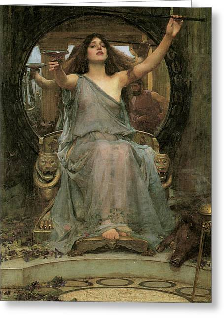 Greek Myths Greeting Cards - Circe offering the Cup to Ulysses Greeting Card by John William Waterhouse