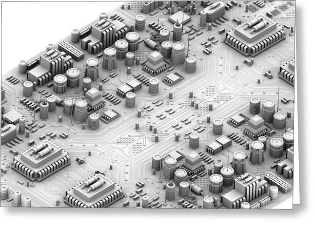 Motherboard Greeting Cards - Circuit Board, Artwork Greeting Card by Pasieka