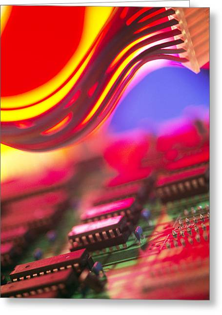 Microchip Photographs Greeting Cards - Circuit Board Greeting Card by Chris Knapton