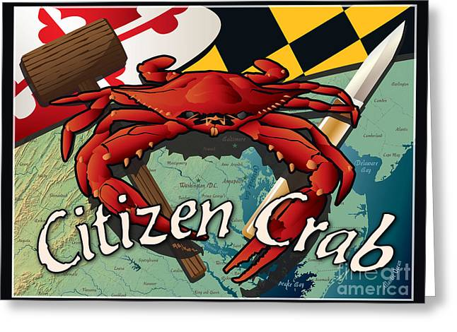 Picking Digital Art Greeting Cards - Citizen Crab of Maryland Greeting Card by Joe Barsin