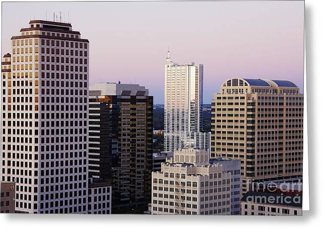 Office Space Photographs Greeting Cards - City Skyline Greeting Card by Jeremy Woodhouse
