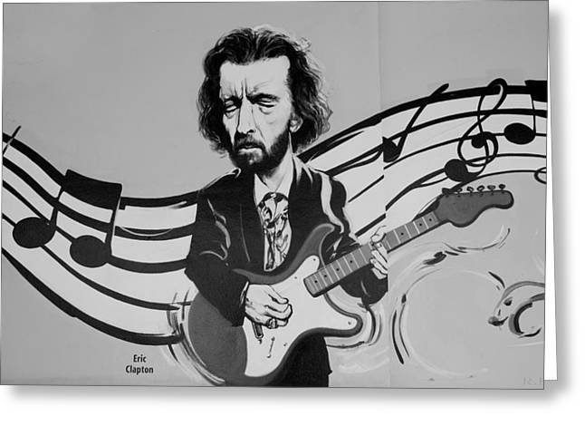 Slowhand Greeting Cards - CLAPTON in BLACK AND WHITE Greeting Card by Rob Hans