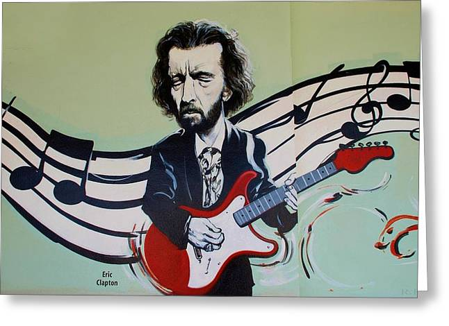 Slowhand Greeting Cards - Clapton Greeting Card by Rob Hans